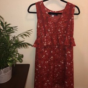Clay Floral Dress with Buttons, Ruffles, and Lace!